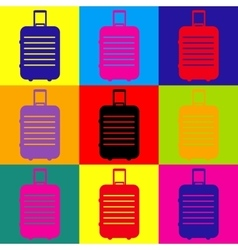 Baggage sign pop-art style icons set vector