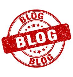 Blog red grunge stamp vector