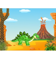 Cartoon happy stegosaurus posing vector image vector image
