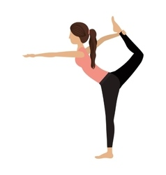 Colorful yoga woman lord of the dance pose two vector