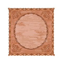 Decorative frame oak leaves and acorns woodcarving vector image