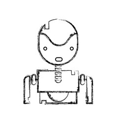 Figure tecnology robot face with chest design vector