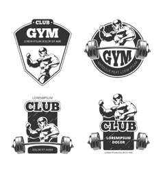 Gym and fitness emblems labels badges vector