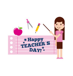 Happy teacher day card cute girl standing with vector