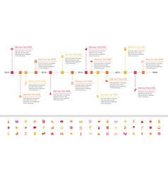 Modern flat timeline with red orange and yellow vector