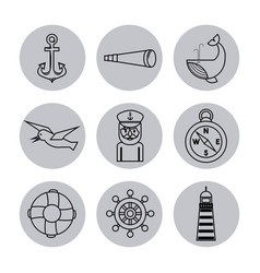 Nautical design elements anchor wheel fish vector