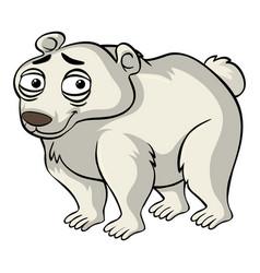 Polar bear with sad smile vector
