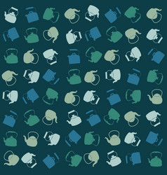 seamless colorful pattern with kettle vector image vector image