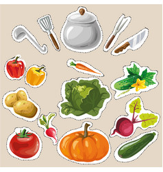 set collection with vegetables stickers patches vector image vector image