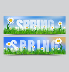 Set of spring web banners with green grass white vector