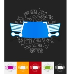 shopping paper sticker with hand drawn elements vector image