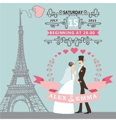 Wedding invitationbride groom floral wreath vector