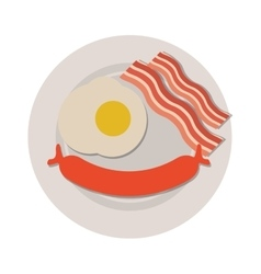 Breakfast with egg sausage and bacon icon vector