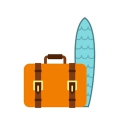 Surfboard and brown suitcase icon in flat style vector