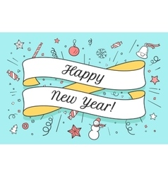 Greeting card with red ribbon and happy new year vector