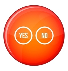 Selection buttons yes and no icon flat style vector