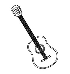 Monochrome contour with acoustic guitar vector