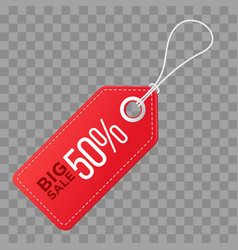 realistic discount red tag isolated on checkered vector image