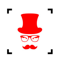 Hipster accessories design  red icon vector