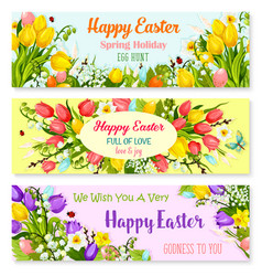 Easter spring holiday greeting banners set vector