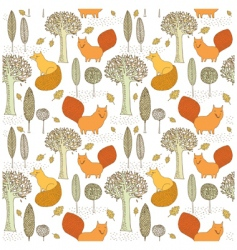 Fox and tree wallpaper pattern vector