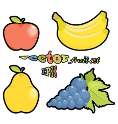 Fruit set apple pear grapes bananas on white backg vector