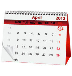 Holiday calendar april 1 vector