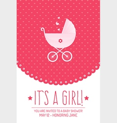 Pink baby shower invitation card vector