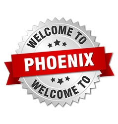 Phoenix 3d silver badge with red ribbon vector