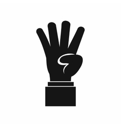 Hand showing number four icon simple style vector