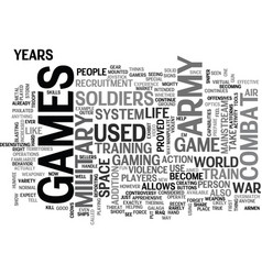 Army games text word cloud concept vector