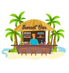 Beach bar travell palm drink summer lounge vector