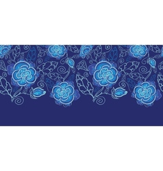 Blue night flowers horizontal seamless pattern vector image vector image
