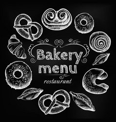 Bread items set isolated on dark grey vector