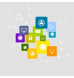 Bright social communication icons background vector image vector image
