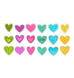 Colorful hearts patch set vector