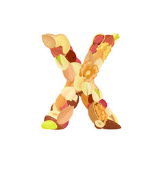 delicious letter made from different nuts x vector image