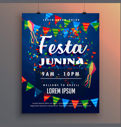 festa junina party flyer poster with confetti and vector image vector image