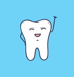 funny smiling tooth waving hand beautiful joyful vector image