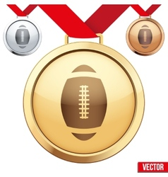 Gold Medal with the symbol of a football inside vector image