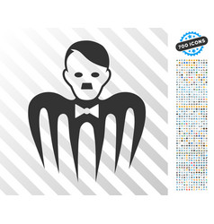 Hitler croupier monster flat icon with bonus vector