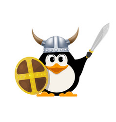 iittle penguin in a viking costume child penguin vector image vector image