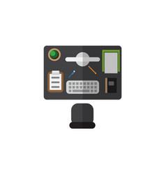 Isolated office desk flat icon bureau vector