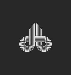 Letters logo DB monogram offset line overlapping vector image vector image