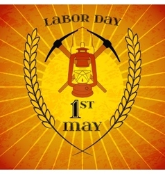 May 1st Labor Day Mine helmet and wheat ears vector image vector image