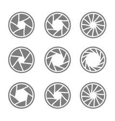 Monochrome icons with camera shutter symbols vector