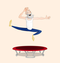 Old man jumping on trampoline vector