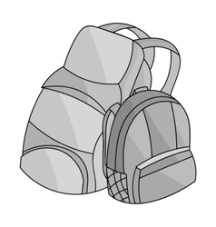 Pair of travel backpacks icon in monochrome style vector image