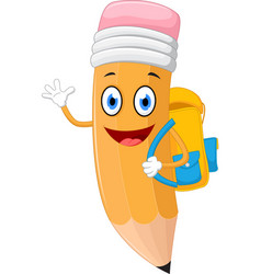 Pencils cartoon with school bag vector