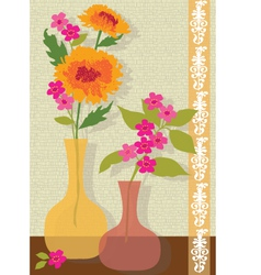 Pink and orange flowers vector
